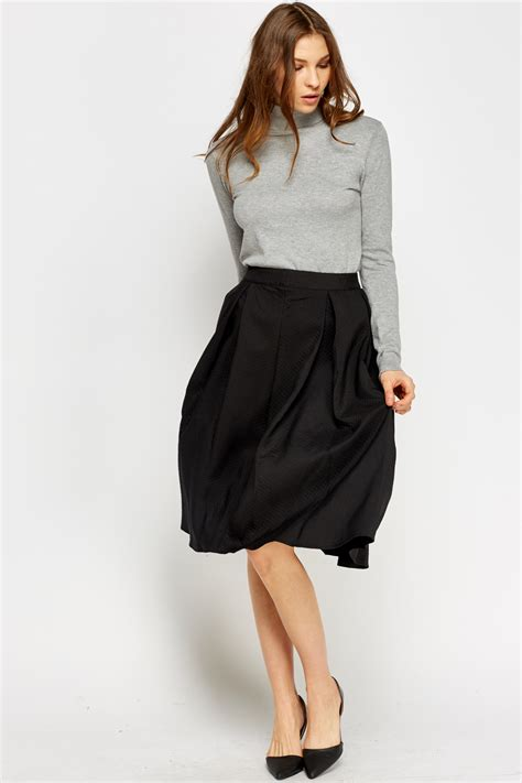 high waisted black midi skirt redskirtz