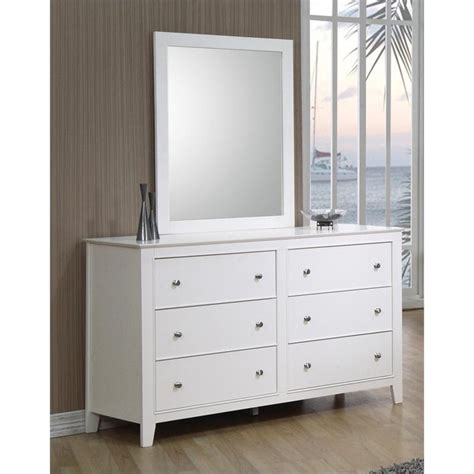 White Dresser And Mirror by Coaster Selena 6 Drawer Dresser And Mirror Set In