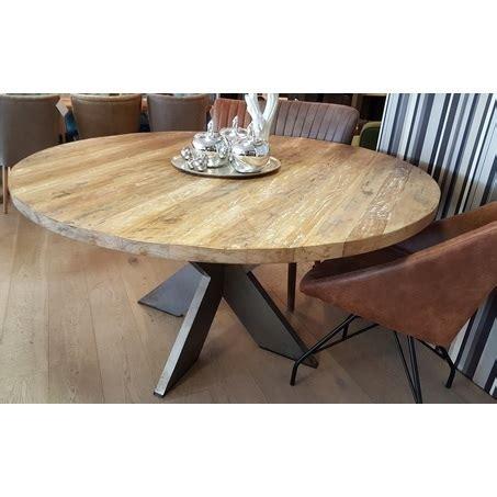 stijgerhouten eettafel ronde teakhouten tafel met metalen poot bekijken