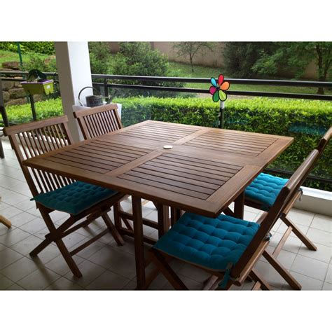 table de jardin carree table de jardin carr 233 e pliante en teck huil 233 120x120x75cm