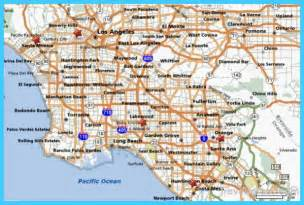 map of los angeles california vacations travel map