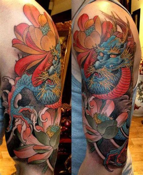 oriental tattoo colored japanese dragon traditional tattoo ideas for men arm