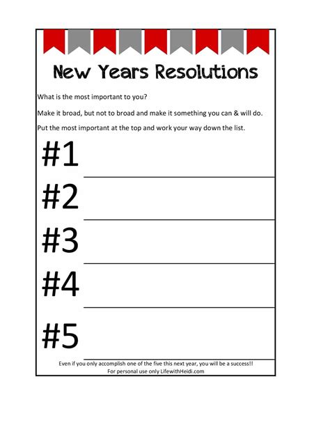 new year display printable new years resolutions printable