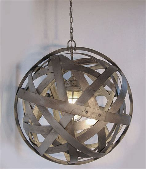 Wine Barrel Light Fixture Orbits Chandelier Recycled Wine Barrel Metal Hoops Galvanized Steel Bands Ceiling