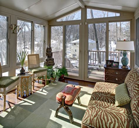 Four Season Porch Furniture Ideas Tracey Stephens Interior Design Inc Eclectic Sunroom