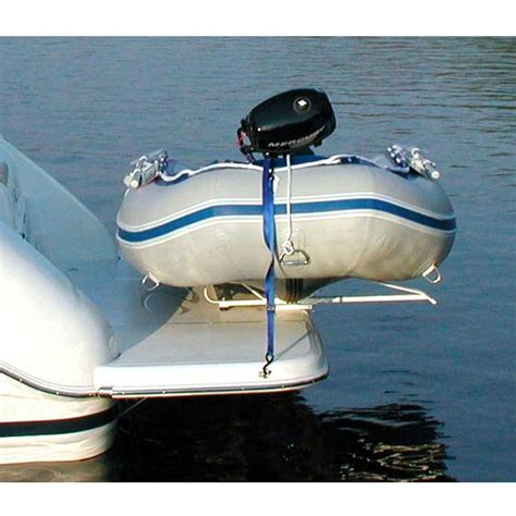 inflatable boat swim platform mounts traditional dinghy davit system economical yet tough