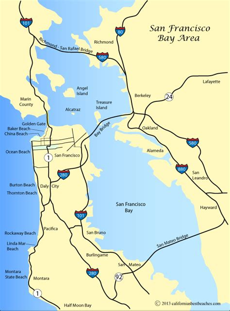 san francisco coast map san francisco beaches directions
