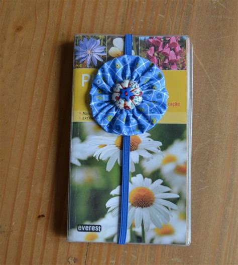 Handmade Fabric Bookmarks - planner band blue elastic bookmark handmade fabric yoyo