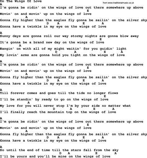 images of love lyrics on the wings of love bluegrass lyrics with chords