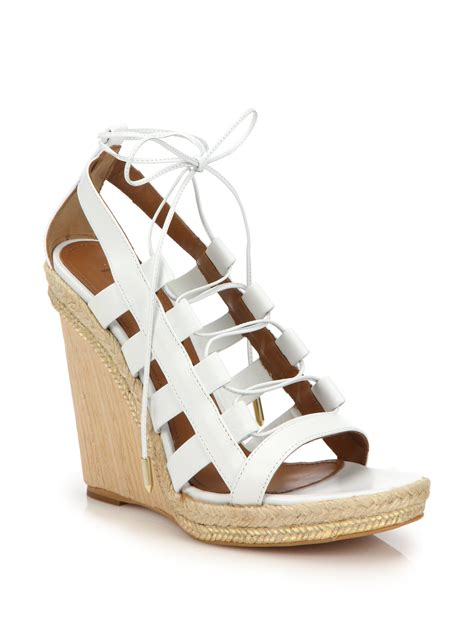 white lace up sandals lyst aquazzura wooden wedge lace up leather