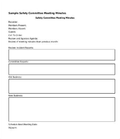 safety committee meeting template safety meeting minutes template 9 free word pdf documents free premium templates