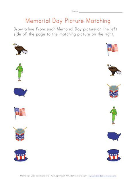 memorial day matching worksheet educational ideas