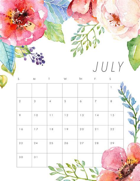 Calendar 2017 July To December Printable Free Printable 2017 Floral Calendar The Cottage Market