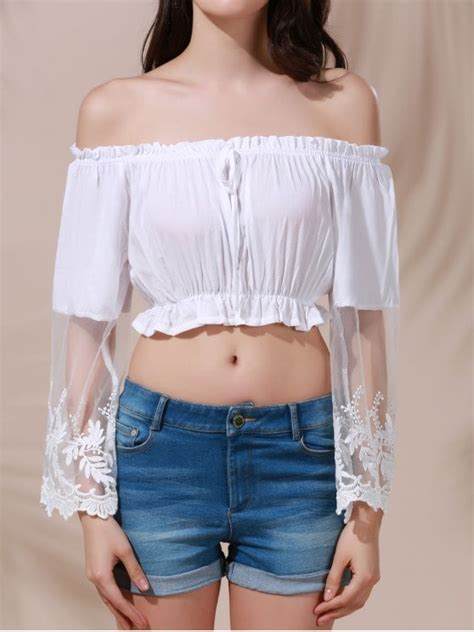 Belly Top white lace spliced flare sleeve the shoulder crop top