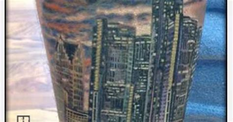 detroit skyline tattoo full color artist brandon