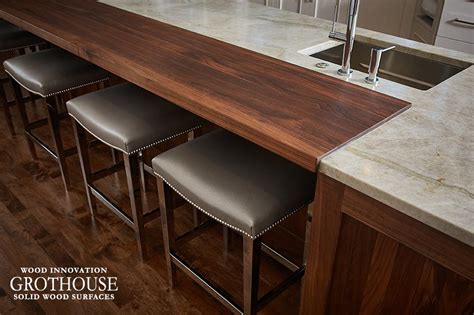 Kitchen Countertops Michigan Walnut Kitchen Island Countertop In Michigan