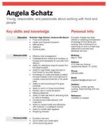 resume exles for high schoolers high school student resume sles with no work experience