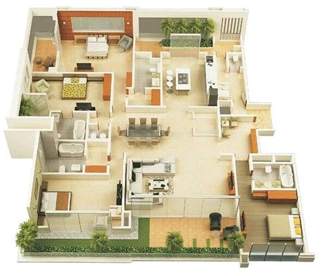 layout rumah 4 kamar tidur 71 gambar denah rumah minimalis sederhana 3d terbaru