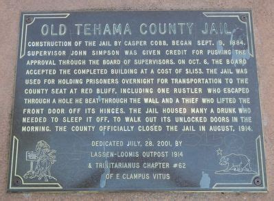 Tehama County Arrest Records Tehama County Historical Marker