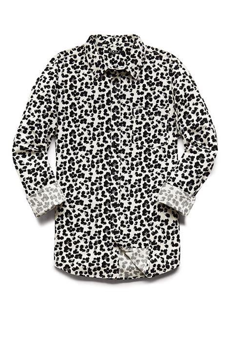21551 Import Cotton Dress Leopard Whiteblackgray Lyst Forever 21 Slim Fit Leopard Print Shirt In Black