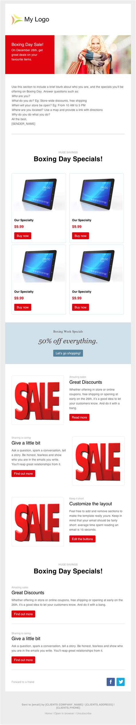 sale template word preview boxing day newsletter template cakemail