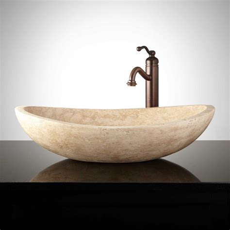 curved oval polished travertine vessel sink bathroom