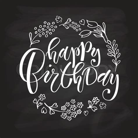 hand lettering design happy birthday stock vector of hand sketched happy birthday text as