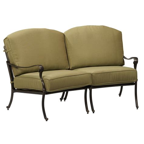 loveseat outdoor furniture hton bay edington curved patio loveseat sectional with celery cushions 141 034 sec2 the