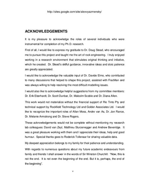Acknowledgement Letter Exle For Thesis Ph D Thesis Acknowledgements