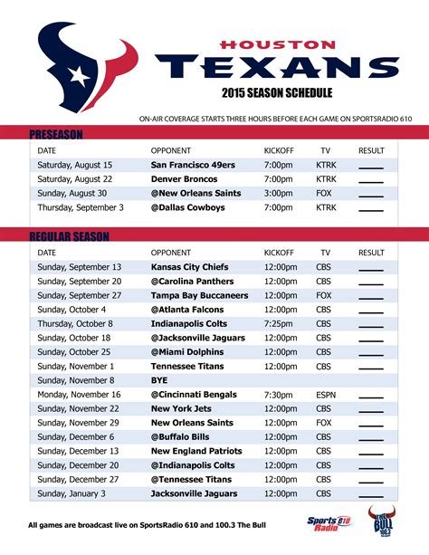 printable ufc schedule houston texans schedule 2016 live score football