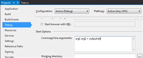 reset visual studio settings command line how to redirect stdout of a c project to file using the
