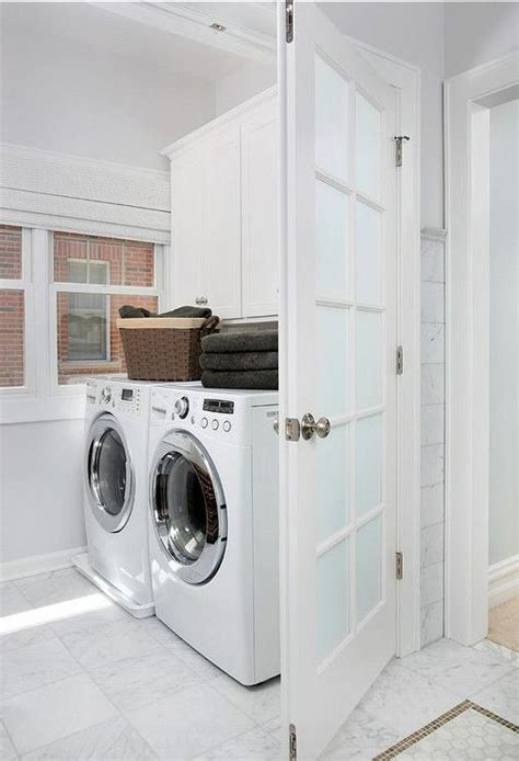 Laundry Room Doors Frosted Glass Frosted Glass Laundry Room Door With White Marble Floor Transitional Laundry Room