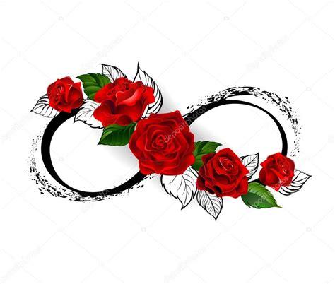infinity symbool met rode rozen stockvector