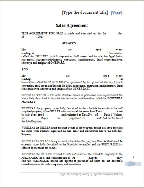 printable sales agreement template ms word word document