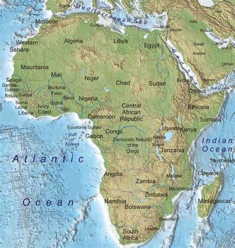 africa map of physical features physical geography 101 africa assignment
