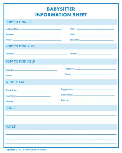 nanny information sheet template information printable