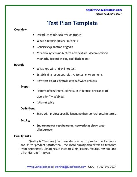 test plan template sle test plan doc