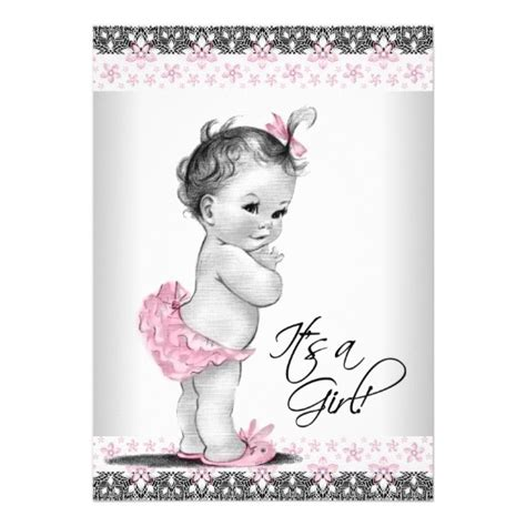 Vintage Baby 1 vintage pink and gray baby shower card zazzle