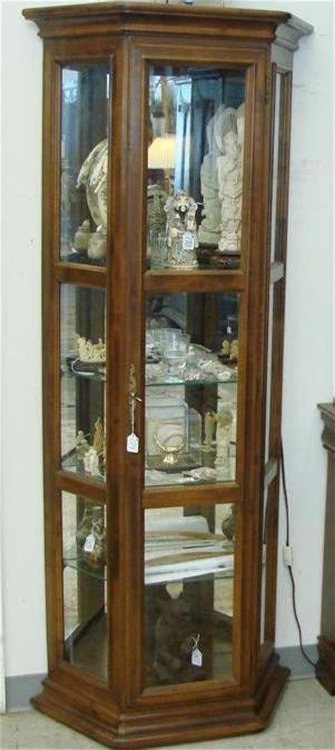 174 signed ethan allen lighted curio cabinet with a fi