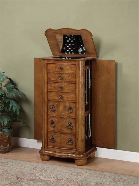 Powell Porter Valley Jewelry Armoire by Porter Valley Jewelry Armoire In Oak Finish Powell 277 314