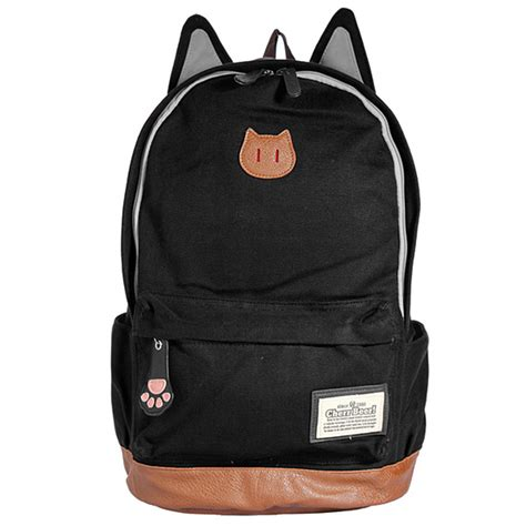 cat backpack canvas cat ear backpack school bag travel