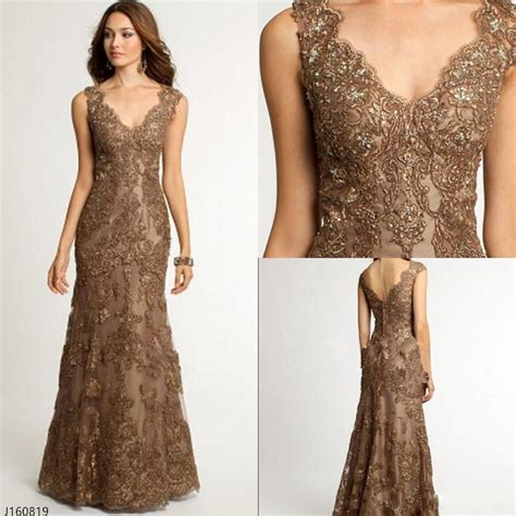 cocktail dress for bride malaysia brown lace long mother of the bride dresses v neck formal