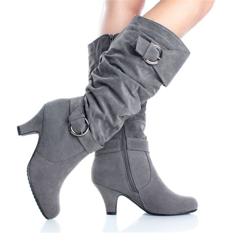 gray suede chunky heel slouch dress womens high heel knee