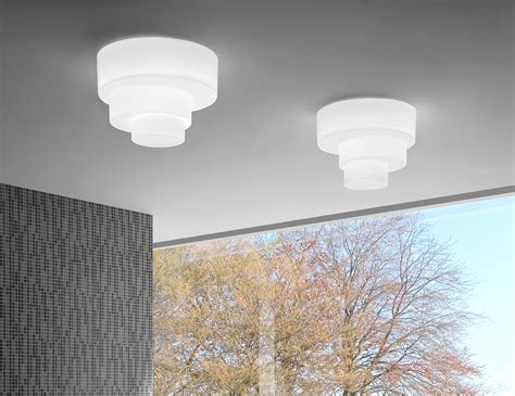 leucos pl modern italian designer ceiling light in white glass