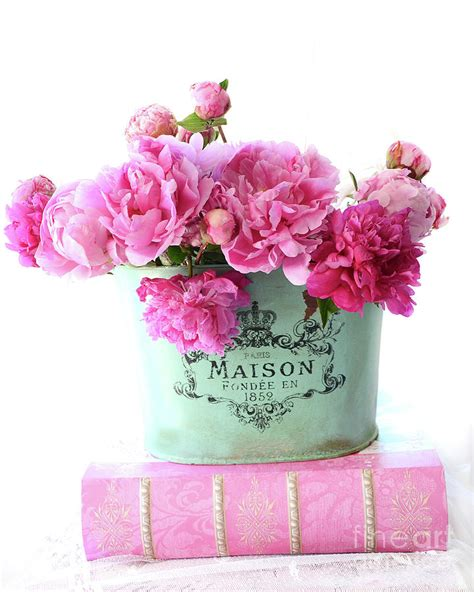 maison decor a french decorating book and blog romantic red and pink peonies maison flowers on pink book