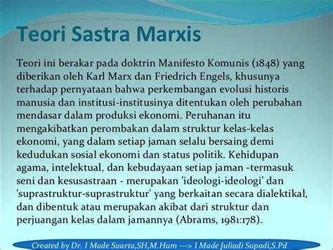 Teori Marxis Dan Berbagai Ragam Teori Neo Marxian materi teori sastra