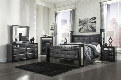 ashley alamadyre queen upholstered poster bedroom set  black bedrooms buy bedroom