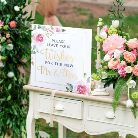 Wedding Wishes Sign by Watercolor Wedding Wishes Sign