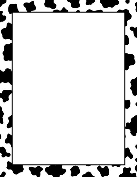 cow pattern frame a simple black and white border with a cow print pattern