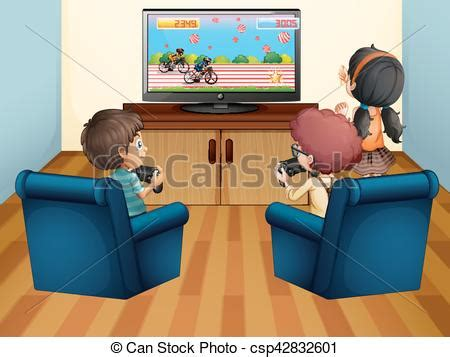 kids playing computer game at home illustration.